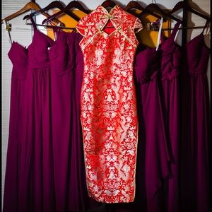 Red dragon cheongsam qipao